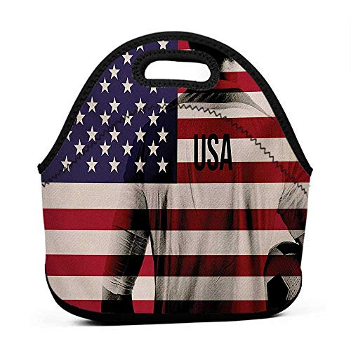 Composite Neoprene Football - Tote Waterproof Outdoor Soccer,Composite Double Exposure Image of A Soccer Player and American Flag Usa Run,Beige Blue Red,back bag and lunch box for girls