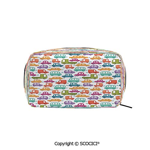 - Printed Portable rectangle Makeup Cosmetic Bag Doodle Style Cars with Colors Various Types of Vehicles Truck Bus Limousine Durable storage bag for Women Girls
