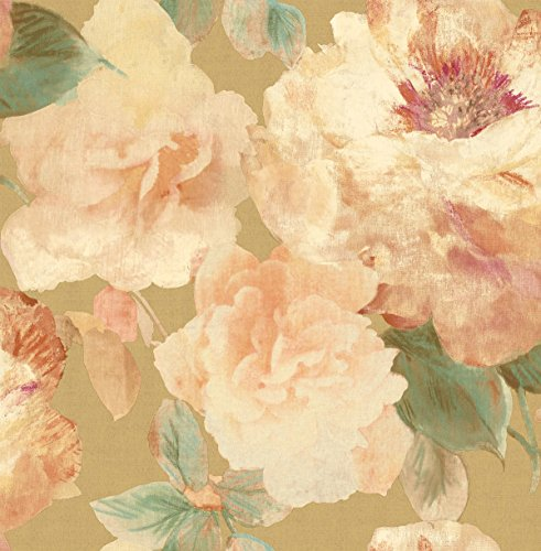 Blue Floral Wallpaper Gold Peach Cream Green Vintage Style Samples Available ()