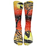 Africa African Cat And Acacia Tree Distressed Men's Women's Cotton Crew Athletic Sock Running Socks Soccer Socks