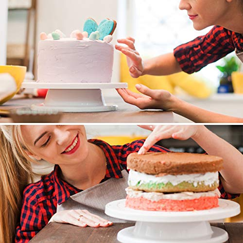 Kootek 11 Inch Rotating Cake Turntable with 2 Icing Spatula and 3 Icing Smoother, Revolving Cake Stand White Baking Cake…