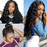 Water Wave Lace Front Wig With Baby Hair Glueless Malaysia Human Hair Wig For Black Women Peruvian Remy Unprocessed Natural Wigs 150 Density Wet And Wavy Pre Plucked With Bleach Knots 28 Inch