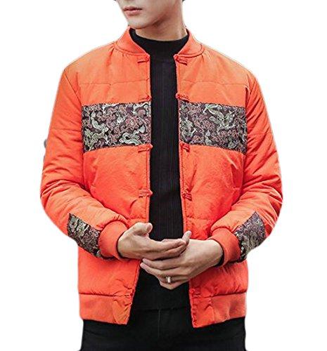 Oggi Cappotto Pulsante Alla Arancione uk Collo Rana Moda Ricamo Floreale Il Uomini Giacca Basamento Giù 7Xq7Hwrt