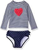Little Me Children's Apparel Baby and Toddler Girls UPF 50+ 2-Piece Rashguard, Navy/Heart, 24 Months