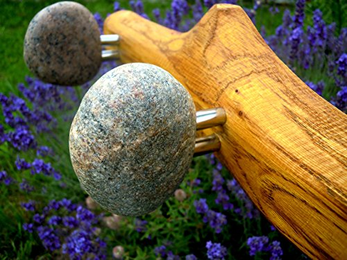 Rack with natural Beach STONES hooks. Stone towel hook. Rock coat hook. Wall hooks - coat rack with Smooth Beach Stones. Entryway hanger, wall decoration, Modern wood hooks. Kitchen hanger