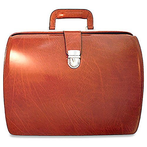 Classic Cognac Leather Briefcase - Jack Georges Mens [Personalized Initials Embossing] Elements Classic Leather Briefcase in Cognac