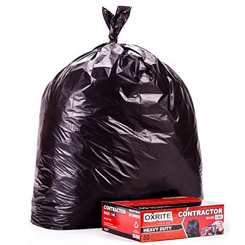 Heavy Duty Contractor Bags by OXRITE   Individually Folded, 42 Gallon (50 PACK), 3 MIL Thick Large Black Industrial Garbage Trashbags