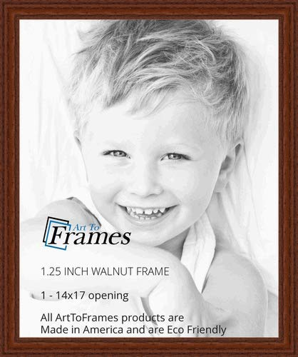 ArtToFrames 14x17 inch Walnut Stain on Solid Red Oak Wood Picture Frame, 2WOM0066-59504-YWAL-14x17 ()