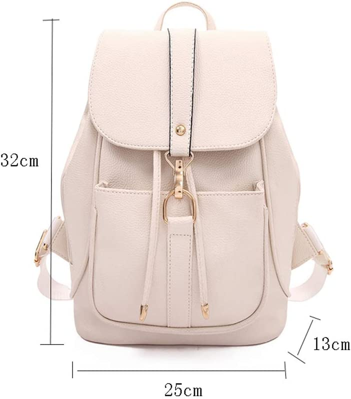 Color : White Backpack LCSHAN Shoulder Leather Fashion Simple Unisex Indoor and Outdoor Waterproof Convenient