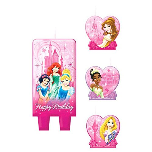 American Greetings Disney Princess Birthday Candles, 4 Count, Party Supplies