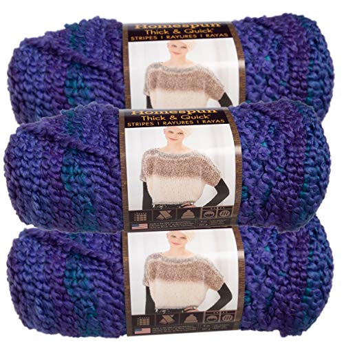 Lion Brand (3 Pack) Homespun Thick & Quick Acrylic & Polyester Soft Violet Stripes Purple Blue Yarn for Knitting Crocheting Super Bulky #6