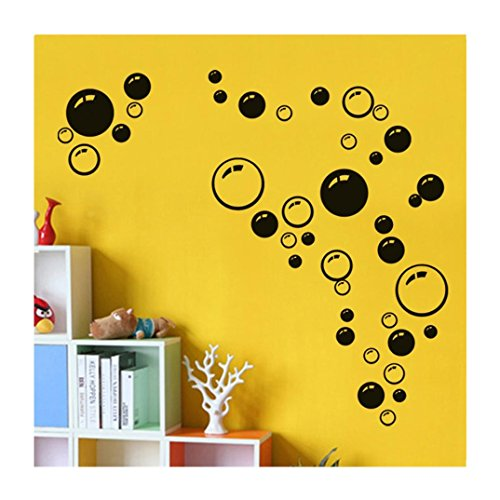 Efaster® Bubbles Circle Removable Wall Wallpaper Bathroom Window Sticker Decal Home DIY (Black) (Bubble Decals)