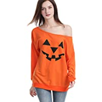 Rysly Womens Sexy Off The Shoulder Halloween Pumpkin Sweatshirts Pullover Costumes Plus Size