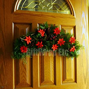 """Red Poinsettia Christmas Garland Decorations - 2.5"""" Wide, Set of 24, Tree Ornaments, Wreath, Swag 30"""