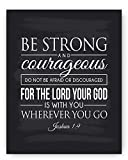 Christian Art, Be Strong and Courageous, Joshua 1:9 Scripture Quote Chalkboard Print (8x10'') - Unique Inspirational Gift - Beautiful Bible Quote Print