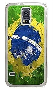 brand new Samsung S5 cover Awesome Brazil Flag PC Transparent Custom Samsung Galaxy S5 Case Cover