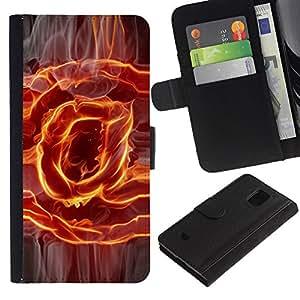 [Neutron-Star] Modelo colorido cuero de la carpeta del tirón del caso cubierta piel Holster Funda protecció Para Samsung Galaxy S5 Mini (Not S5), SM-G800 [Flaming @ At Sign]