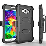 Grand Prime Case, Tekcoo [TShell Series] [Black] Shock Absorbing [Built-in Screen Protector] Holster Locking Belt Clip Defender Heavy Duty Case Cover For Samsung Galaxy Grand Prime / Go Prime