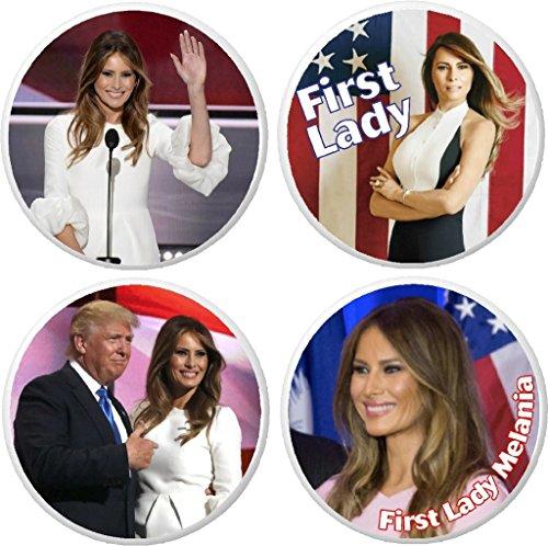 """Set 4 Melania Trump First Lady 2.25"""" Keychains"""