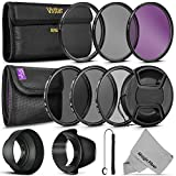 58MM Vivitar UV CPL FLD Filters, Altura Photo ND Filter Set, Collapsible Rubber Lens Hood, Tulip Lens Hood Bundle for Lenses with a 58mm Filter Size