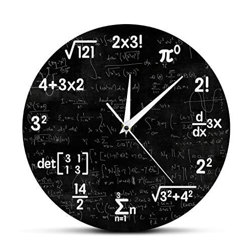 Zdtxkj Math Equations and Notations Mathematics Chalkboard Geek Wall Clock Educational Gifts for Kids Teachers School Classroom Decor