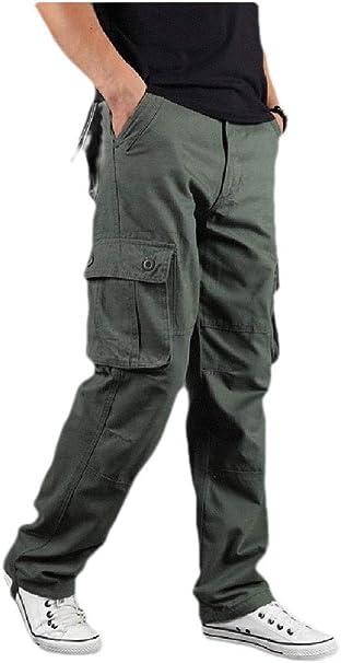 CRYYU Men Regular-Fit Outdoor Camo Print Multi Pockets Military Cargo Pants