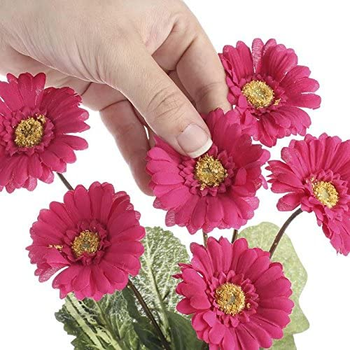 Embellishing and Crafting Group of 3 Sweet Artificial Magenta Gerbera Daisy Bundles for Spring Decorating