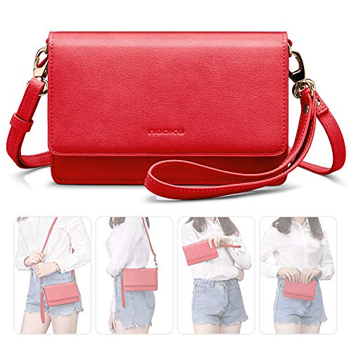 nuoku Women Small Crossbody Bag Cellphone Purse Wallet with RFID Card Slots 2 Strap Wristlet(Max 6.5'')(Red)
