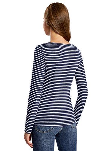 oodji Ultra Mujer Camiseta de Manga Larga con Estampado Azul (7941P)