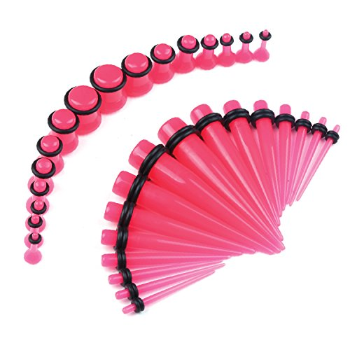 32PCS Hot Pink Taper Ear Expanders with Plugs Stretching Set Single Flare 12G-00G (Pink Acrylic Ear Plugs)