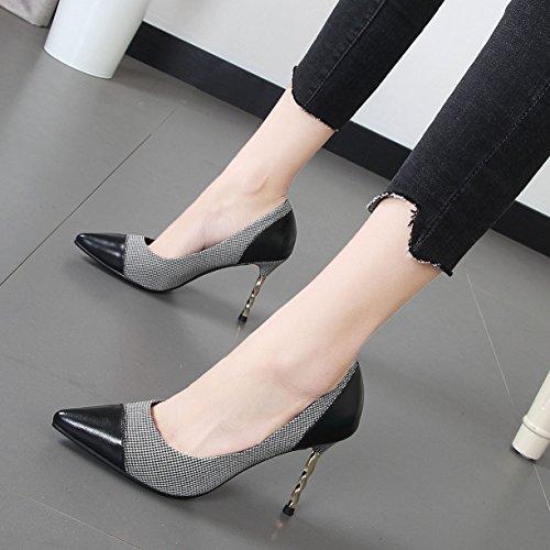 Xue Qiqi punto de la cuadrícula ligero, compacto y elegante de alta Heel Shoes hechizo noche solo zapatos femeninos de color Negro