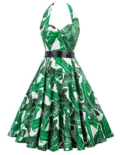 Women's Palm Leaf Print Halter Neck Sleeveless Summer Dress(L,75-34)
