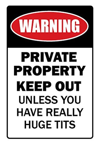 Novelty Sign Gift Private Property Huge Boobs Funny Joke Gif