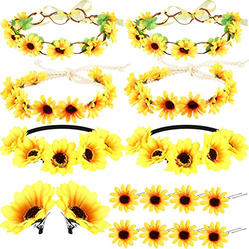 16 Pieces Sunflower Hair Accessories Floral Wreath Headbands Set, Including 6 Pieces Sunflower Headbands, 2 Pieces Sunflower Hair Clips, 8 Pieces Sunflower Hairpins for Women and Girls -
