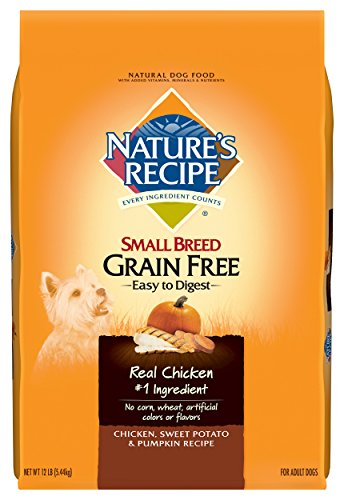 Nature's Recipe Small Breed Grain Free Easy to Digest Dry Dog Food, Chicken, Sweet Potato & Pumpkin Recipe, 12-Pound (Small Food Breed Puppy)