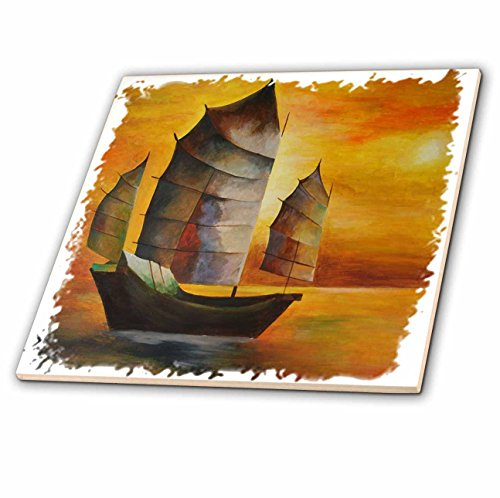 Taiche - Acrylic Painting - Sail Boat - Chinese Junk - sail boat, acrylic painting, sails, decorative, seascape, cubism, sailors, nautical - 8 Inch Glass Tile (ct_63141_7)