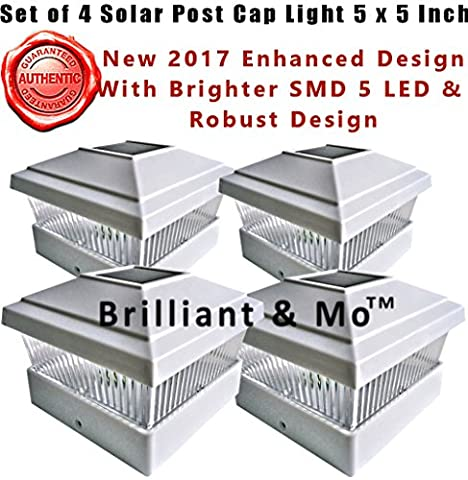 Set of 4 White Solar Post Caps 5 x 5 Post Light 2017 Enhanced SMD 5 Led With Robust Battery Connection and Premium Solar Panel