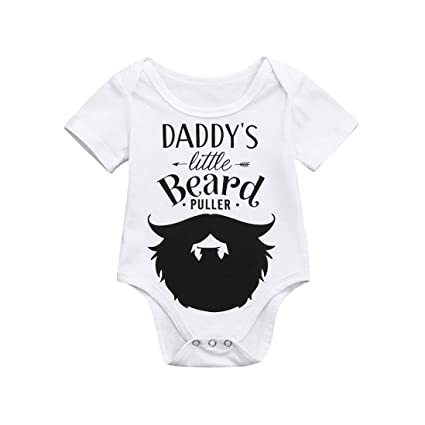 3e81e94b GBSELL Baby Boys Girls Newborn Infant Letter Print Romper Clothes Outfits  (Daddy's Beard, 0