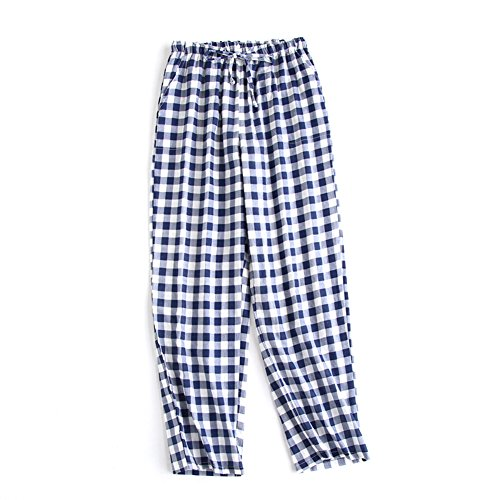 SYCLZ Big Boys Youth Woven 100% Cotton Breathable Lightweight Sleep Lounge Pants Plaid Check Pajama Bottoms with Pocket (L, Navy)
