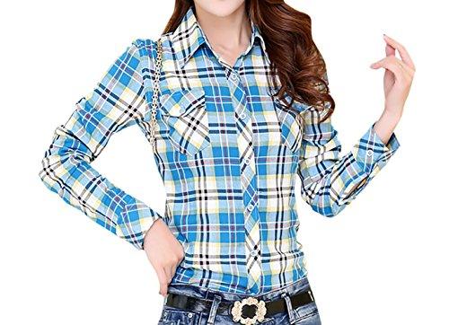 Reticolo Casual Autunno Simple Bluse Basic Blouse Maglietta Primavera e Manica a Risvolto Shirts Blu Tops Maglie Camicie Fashion Sottile Lunga Moda Donna Tumblr Cielo qxtOw01