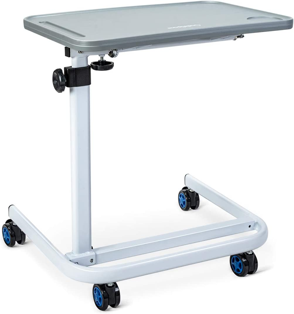 OasisSpace Overbed Table, Hospital Bed Table with Tilt Top, Adjustable Over Bedside with Wheels for Hospital and Home Use - Laptop, Reading, Eating Cart Stand - Bedridden, Elderly, Senior Patient Aid