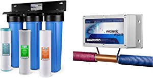 iSpring WGB32BM 3-Stage Whole House Water Filtration System w/ 20-Inch Big Blue Sediment & ED2000 Whole House Electronic Descaler Water Conditioner, Alternative Water Softener