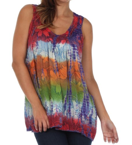 Sakkas 50831 Multi-Color Tie Dye Floral Sequin Sleeveless Blouse - Coral - One Size ()