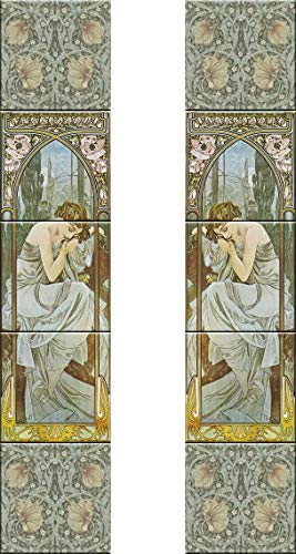 Tile Murals Fireplace set ceramic decorative Art nouveau style Alphonse Mucha #5