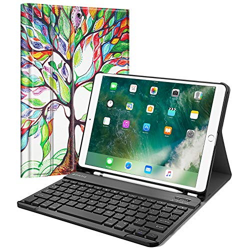 Fintie Keyboard Case with Built-in Apple Pencil Holder for iPad Air 2019 3rd Gen/iPad Pro 10.5 2017- SlimShell Stand Cover w/Magnetically Detachable Wireless Bluetooth Keyboard, Love Tree