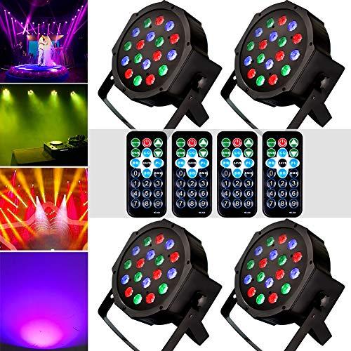 Stage Lights, KOOT 18 LEDS DJ Disco Lighting, Sound Activated Strobe Par Lights High Bright and Silent Motor Remote and DMX Control, Best for Karaoke Club Bar Wedding Show (4 pack)