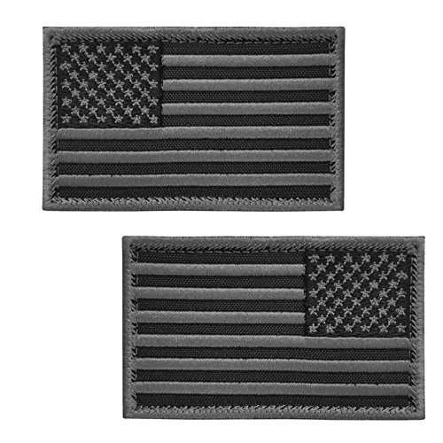 - LEGEEON Set of 2 Hook&Loop Patches ACU Black USA American Flag ISAF Morale Tactical Army