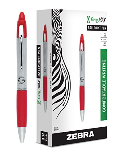 Zebra Z-Grip MAX Retractable Ballpoint Pen, 1.0 mm, Clear Barrel, Red Ink, 12-Pack (Ballpoint Pen Red Ink)