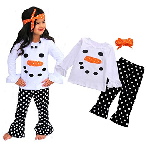 Babay Girl Xmas Party Dress Ruffle Sleeves Snowman Pattern Top+ Black Spot Suspender Skirt Clothes Set (5T, White Snowman top+ Black spot Pants)