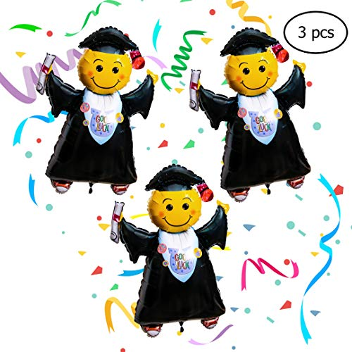 Graduation Party Supplies-Pack of 3 Jumbo Grad Balloons-For Elementary, Middle/High School, or College Graduates -